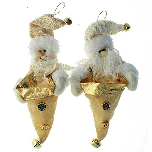 Werchristmas decorazioni per albero di natale, a forma di babbo natale e pupazzo di neve, con tasca porta dolcetti, 23 cm, confezione da 2, colore: panna/oro