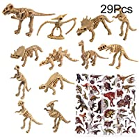 TUPARKA Dinosaur Fossil Skeleton with 5 Sheet Dinosaur Stickers,Assorted Toy Figures Dinosaur Party Favors for Kids