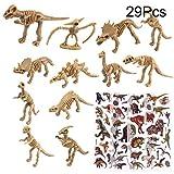 TUPARKA 24Pcs Squelette de Dinosaure avec 5 Autocollants de Dinosaure en Feuille, Dinosaure Jouet Ensemble Dinosaure Squelette Modèles Chiffres Jouets Cadeaux pour Enfants