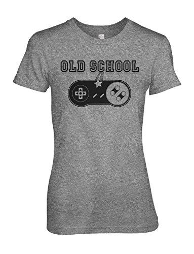 Old School Gamer Joystick Nerd Geek Star Komisch Damen T-Shirt Grau