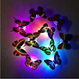 Gaddrt LED Night Light Lamp with Suction Pad, Colorful Changing Butterfly Wall Sticker Home Room Party Desk Wall Decor (5Pcs)