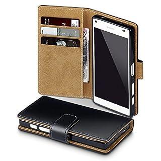 Terrapin, Kompatibel mit Sony Xperia Z5 Compact Hülle, Handy Leder Brieftasche Case Tasche mit Kartenfächer - Schwarz mit Hellbraun Interior