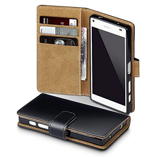 Terrapin, Kompatibel mit Sony Xperia Z5 Compact Hülle, Handy Leder Brieftasche Case Tasche mit Kartenfächer - Schwarz mit Hellbraun Interior EINWEG