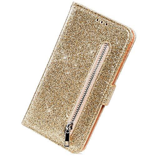 Herbests Kompatibel mit Samsung Galaxy J6 Plus 2018 Handyhülle Leder Hülle Reißverschluss Handytasche Bling Glänzend Glitzer Flip Case Cover Tasche Brieftasche Klapphülle Magnet Standfunktion,Gold