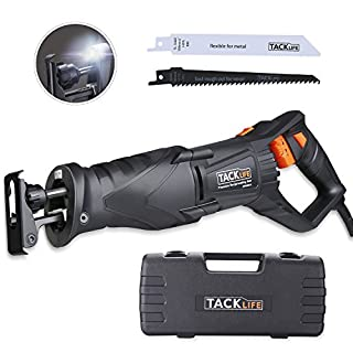 TACKLIFE Reciprocating Saw, 850W 2800RPM, LED Light, Variable Speed, 2 Saw Blades (Wood 6T and Metal 14T), Flexible Hand Shank, Rotating Blades Position, Carrying Box - RPRS01A