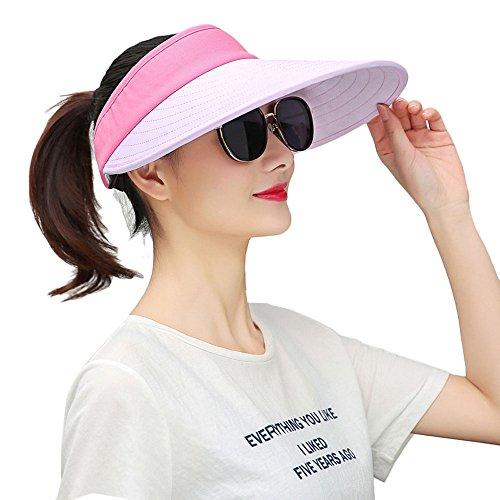 GTKC as Damas de Deportes al aire libre Sol Sombreros de Ala Ancha Visera, Sombrero de copa Vac¨ªa La Luz De Color Rosa
