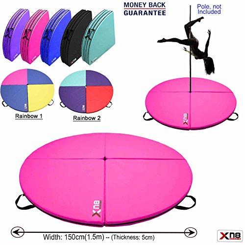 Xn8 Colchoneta de seguridad para baile, baile del caño, ejercicios gimnásticos, yoga, fitness; colchoneta amortiguadora de 150 cm diámetro y 5 cm de espesor., rosa