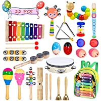 Bigear Toddler Musical Instruments 15 Types 22pcs Musical Percussion Instruments Toy Set Including Xylophone Flute Tambourine Maracas for Kids Preschool Educational with Storage Backpack