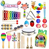Bigear Toddler Musical Instruments 15 Types 22pcs Musical Percussion Instruments Toy Set Including Xylophone Flute Tambourine Maracas for Kids Preschool Educational, with Storage Backpack