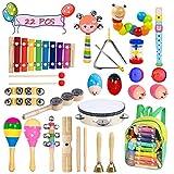 Bigear Kleinkind Musikinstrumente Rhythm Toys Set 15 Arten 22pcs Percussion Set Holz Kleinkind Musical Instrumente Früherziehung Musik Kinderspielzeug
