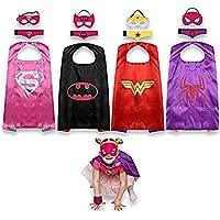 JNEGlo - Capas de superheroína infantiles (Spidergirl, Batgirl, Supergirl y Wonder Woman)