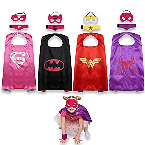 JNEGlo Superhelden-Kostüm, beinhaltet Spidergirl/Batgirl, Supergirl und Wonder Woman