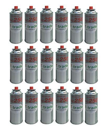 ALTIGASI 18 Stück - Kartusche Gaskartusche GPL 250 g Art. KCG250 Idealer Lötkolben für Kamin oder Backofen, geeignet für Camping, Brunner