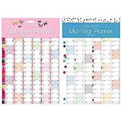 Large A1 2019-2020 Fancy Academic Mid Year Wall Planner Calendar - Colour at Random