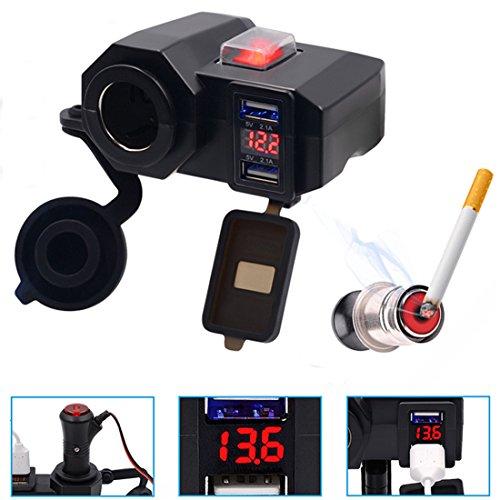 FEZZ Motorrad Dual USB Ladegerät LED Voltmeter 12V Steckdose -