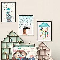 Cartoon Umbrella Bear Cats and Birds Colorful Rain - No Fream