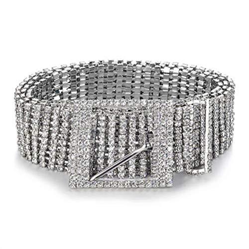Fandoria Damen Gürtel Hose Kleid Gürtel Vintage Strass Silber Metall Körper Taille Breit Kettengürtel Kleid Dekoration