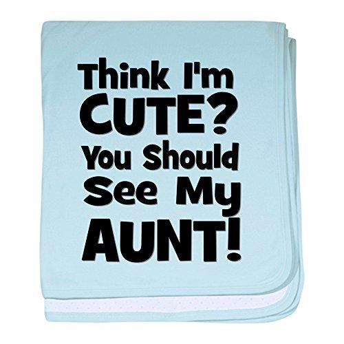 CafePress–Think I 'm cute? Tante–Schwarz Baby Decke–Baby Decke, Super Weich Für Neugeborene Wickeldecke, baumwolle, himmelblau, Standard