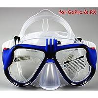 YEESAM Swim, immersioni maschera GoPro con supporto compatibile con GoPro Hero 1233+ 4Sessione maschera, nuoto, snorkeling–Go Pro–chiara bicchieri o con ricetta snorkeling prescrizione sehstärke Mass Ange mano, Blau, -7.0