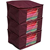 Kuber Industries™ Non woven Saree cover/ Saree Bag/ Storage bag Set of 3 Pcs (Maroon) 9 Inches Height (KS011)