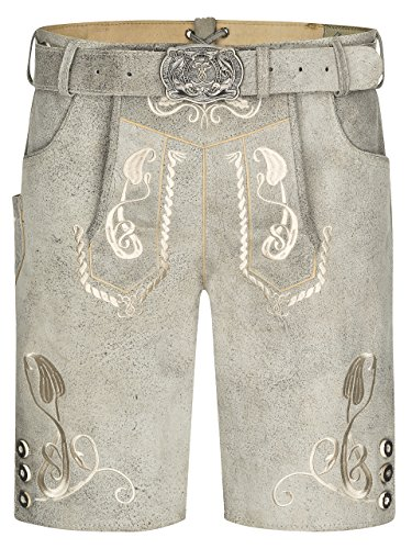 Herren Bergkristall helle/graue Lederhose kurz Trachtengürtel - Trachten Lederhose Vintage mit Gürtel (48)