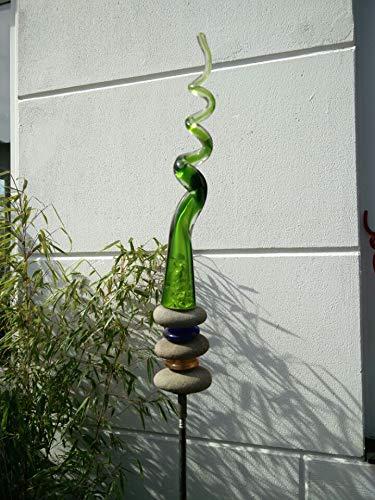 Zen Man Edelrost GartenStecker GartenGlaskugel Glasdeko Rost Gartenfigure Beetstecker Gruen 140 * 5 cm 101564
