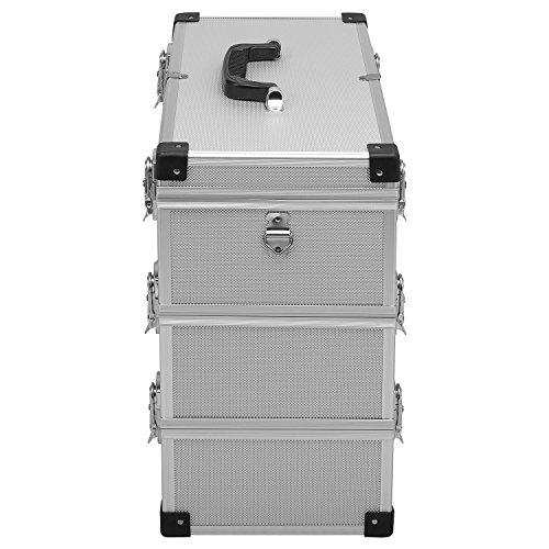 anndora® Werkzeugkoffer 32 Liter Angelkoffer Etagenkoffer 3 Ebenen Silber Alu - 4