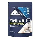 Multipower Formula 80 Protein Complex – Mehrkomponenten Protein Pulver für den Muskelaufbau – Proteinpulver mit Casein für eine langfristige Versorgung – mit cremigem Coconut Geschmack – 510 g