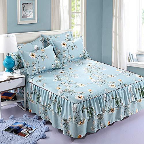 QIN Tagesdecke mit Blumenmuster, Bettüberwurf, Bettbezug, 2 Kissenbezüge, 4er-Set, Einzel-, Doppel-, Kingsize-Bett,C,48 * 74/2pce - 2pce Set