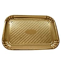 Gold Rectangular Cardboard Pastry and Cake Tray/Platters - Party and Wedding Disposables