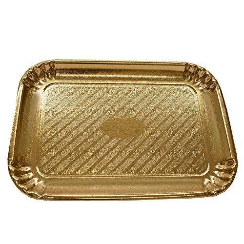 (Gold Rechteckige Karton Gebäck und Kuchen Tablett/Platten–Wholesale/Bulk Einwegartikel für Party & Hochzeit, Pappe, gold, 200 x 145mm)