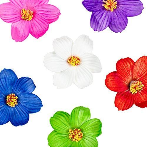 Super Z Outlet Haarklammern, Hula-Mädchen, aus Papier, Hibiskus, Verschiedene Blumen, Hawaiiinsel, Regenwald, für Kostüme, Geburtstagspartys, Veranstaltungen, Dekorationszubehör (12 Stück) - Papier Hibiskus-blumen