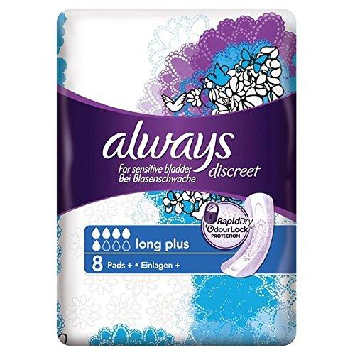 Always Discreet für empfindliche Blase Long Plus Pads 8Pro Pack (6Stück) (Lewis Seife)