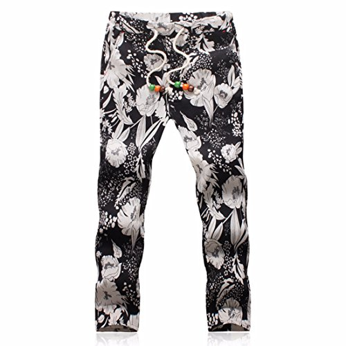 Men's Designer Linen Printed Casual Jogger Trousers gray