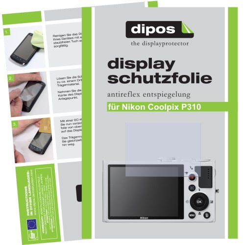 dipos I 2X Schutzfolie matt passend für Nikon Coolpix P310 Folie Displayschutzfolie