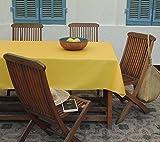 Nappe coton enduit Unis jaune ronde Ø160 ~ Fleur de Soleil