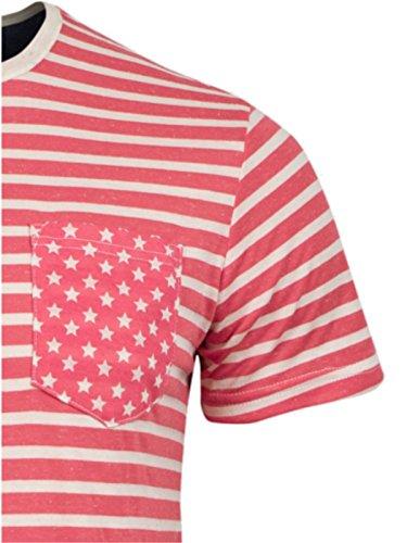 BRAVE SOUL T-Shirt gestreift Rundhals-Ausschnitt modisch Club Disko Sommer Rot