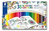 Lápices de colorear triangulares de Staedtler Ergosoft 157 SB12, color Assorted Tin of 36