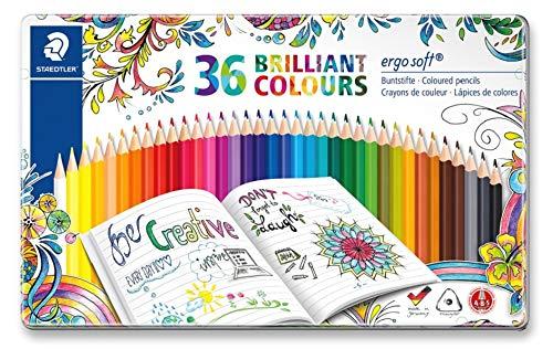 Staedtler ergosoft 157 M36JB Buntstifte, erhöhte Bruchfestigkeit, rutschfeste Soft-Oberfläche, dreikant, Set mit 36 brillanten Farben
