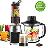 Blender Smoothie 700W, FOCHEA 3 en 1 Mixeur Smoothie Blender & Hachoir à...
