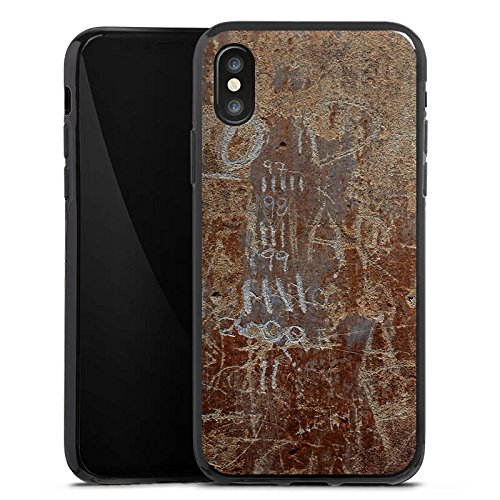 Apple iPhone X Silikon Hülle Case Schutzhülle Rost Look Kratzer Silikon Case schwarz