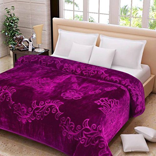 SRS Floral Embossed Single bed Blanket- FREE One Day DELIVERY & Complimentary 'SRS' Blanket Bag