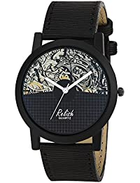 Relish RE-S8131BB Black Slim Analog Watches For Men's And Boy's