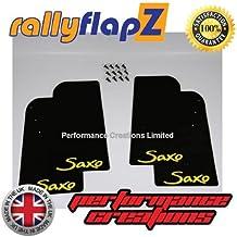 rallyflapZ Guardabarros para Citroen Saxo (1996-2003) Cantidad 4 Negro Guardafangos Logo Amarillo (4mm PVC)