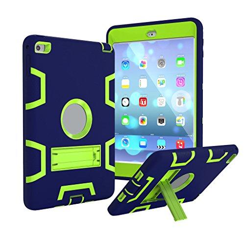 3in1stoßfest Schutzhülle für Apple iPad Mini 1/2/3-aohro [Hybrid] [Triple Layer] Rugged, Bumper Hard Rigid PC + weiche Silikon Schutz Schutzhülle mit Standfuß, Navy Blue + Green, iPad Mini 1/2/3 - Green-screen-geräte