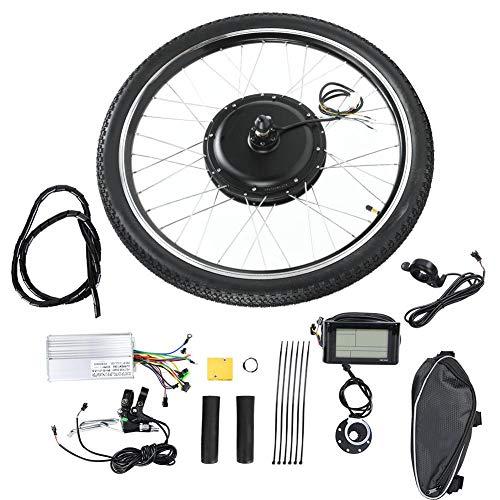Caredy Kit Motore Bici elettrica + misuratore LCD, 48V 1500W 26 \'\' Kit conversione Bici elettrica Ebike Kit conversione Motore mozzo ebike Set Ruote Accessori Bici Motore mozzo(Front Drive)