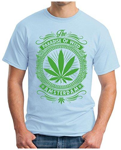 OM3 - AMSTERDAM - T-Shirt Holland Netherland Grachten Coffeeshop Smoke Legal Ganja US College Hellblau