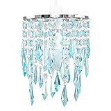 MiniSun – Eleganter Lampenschirm mit türkisen und transparenten Tröpfchen aus Acryl im Kronleuchterstil – für Hänge-/Pendelleuchte