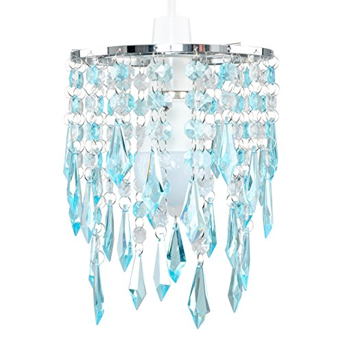 MiniSun - Eleganter 2-stufiger Lampenschirm mit lichtreflektierenden Juwelen aus türkisfarbenem und transparentem Acryl im Kronleuchterstil - Lüster Türkis