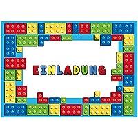12 Einladungskarten zum Kindergeburtstag Bausteine // Geburtstagseinladungen Einladungen Geburtstag Kinder Jungen Mädchen Block Einladungstext 1. Vorlagen Karten Set